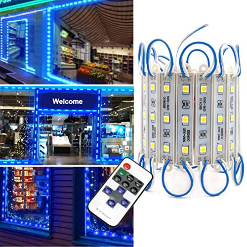 Storefront Lights, Pomelotree 3 Led 40PCS 5050 Super Bright LED Module Lights Waterproof Decorative Light with Tape Adhesive for Store Window Lighting and Advertising Signs (2 Pack) (Blue) - Lighting Window