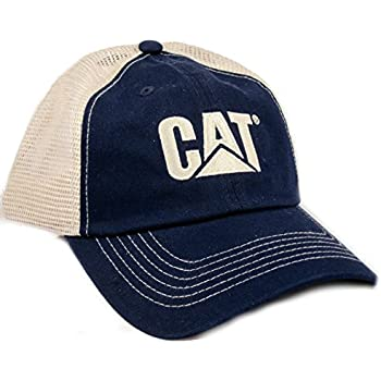 Amazon.com  Caterpillar CAT Blue   Khaki Twill and Nylon Mesh Cap ... 4d77e309c2c7