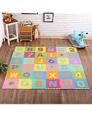 "Alphabet and Numbers Puzzle Play Mat, Kids Foam Mat, Interlocking Foam colourful EVA 36 Tiles, 12""x12"" floor mat for Children"