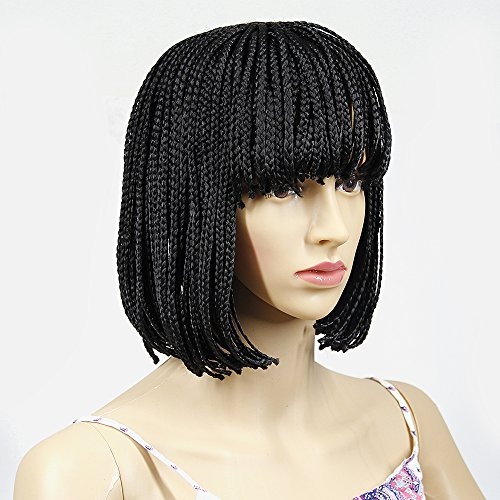 12 Inch Synthetic Braided Wig Short Bob Wigs Natural Black Hair Wig Micro Box Braid Short Wigs for Black Women(12 Inch, #Natural Black)