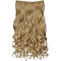 """REECHO 20"""" 1-pack 3/4 Full Head Curly Wave Clips in on Synthetic Hair Extensions Hair pieces for Women 5 Clips 4.6 Oz Per Piece - Light Golden Blonde"""