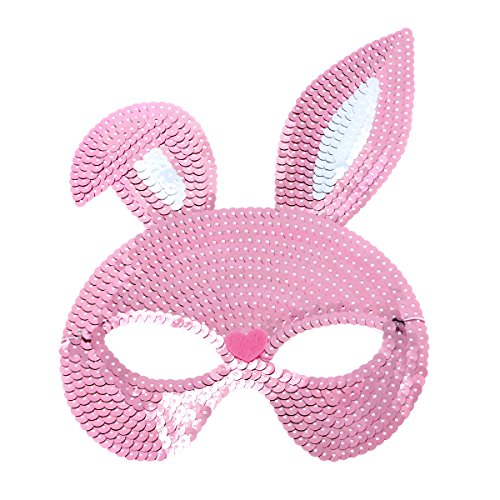 BESTOYARD Shinny Sequin Rabbit Mask Women Half Face Party Mask Fancy Ball Cosplay Costume Accessory for Easter Masquerade (Pink)]()