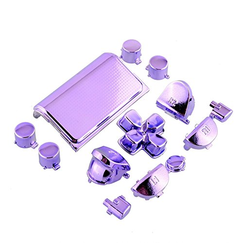 Full Buttons Mod Kits Chrome Purple Plating L1 L2 R1 R2 Replacement Full Trigger Buttons Kit For Sony Playstation 4 Ps4 Controller DualShock 4 (with 2 pcs Springs)