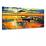 DongLin art Sea Sailboat Paintings Wall Art Landscape Oil Painting On Canvas Home Decor or Gift Framed for Living Room Ready to Hang (Frame 12'' x 16''x 3pcs inch)