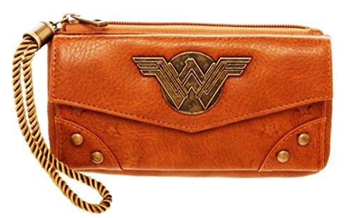 Wonder Woman Metal Logo Zip Top Tan Clutch - Wonder Clutch Woman