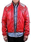 Mjb2c-Michael Jackson Costume Beat it Metal Zipper Leather Jacket Adult/Child - Red