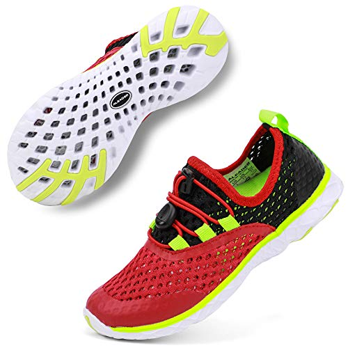 - ALEADER Boys Beach Water Shoes, Summer Breathable Sneakers for Child/Youth Black/Red/Green 2 M US Little Kid