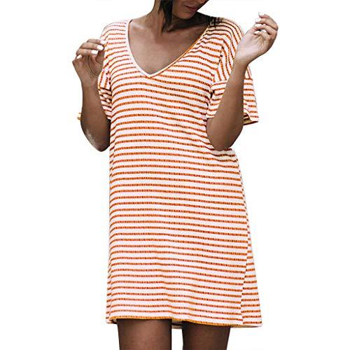 Arancione Casual Stampa Summer A corta Dress Moginp a Scollo Moda Mini Manica Loose righe V Donna Z7xnqOx