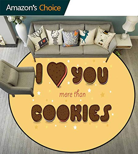 I Love You More Round Rug Design,Valentines Quote with Chocolate Cream Filled Cookie Artistic Font Stars for Residential or Commercial Use,Multicolor,D-70