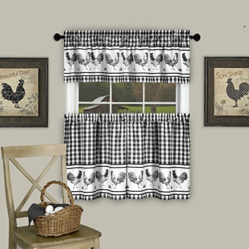Swag Plaid Curtain (GoodGram Country Home Plaid Rooster Kitchen Curtain Tier & Valance Set - Assorted Colors & Sizes (24 in. Long, Black))