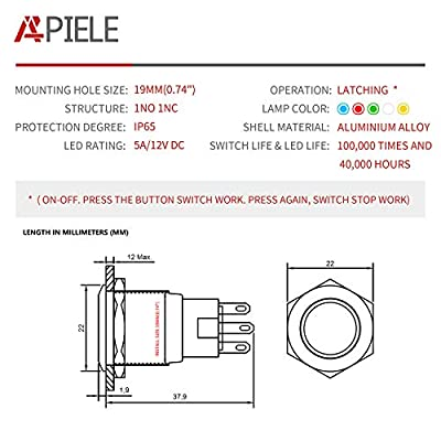 APIELE [3 year warranty] 19mm Latching Push Button Switch 12V DC Angel Eye Halo Ring LED Metal 0.74