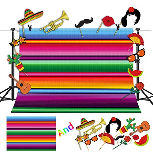 Fanghui 9x6ft Mexico Color Fiesta Theme Party Stripes Backdrop and Studio Props DIY Kit,Great as Mexican Dress-up Cactus Banner Photo Booth Background Summer Pool Birthday Party Decoration Supplies]()