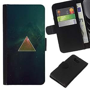 YiPhone /// Tirón de la caja Cartera de cuero con ranuras para tarjetas - Espacio Triangel Galaxy - Samsung ALPHA G850