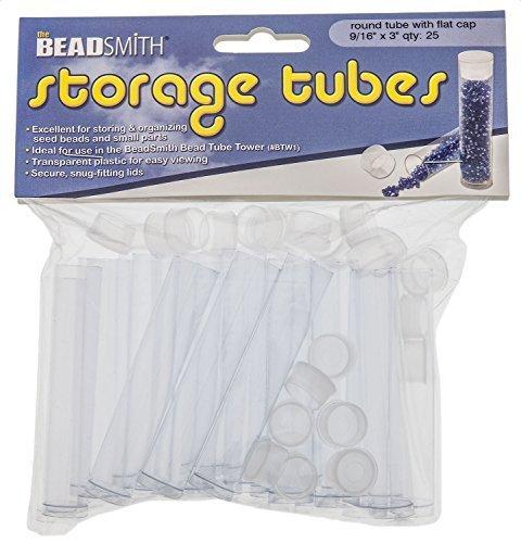 (Tube Plastic Rnd W/flat Cap, 3 X 9/16 -25/bg - PT3-R by Beadsmith)