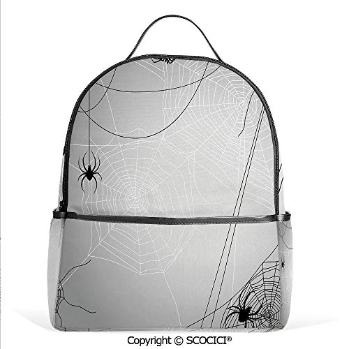 Casual Fashion Backpack Spiders Hanging from Webs Halloween Inspired Design Dangerous Cartoon Icon Decorative,Grey Black White,Mini Daypack for Women & Girls