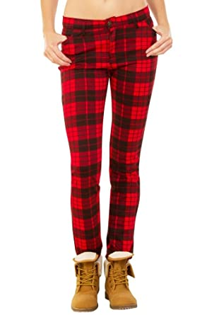 ff8a367087 Pantalones Cuadros Estilo Slim para Mujer Pantalón de Tartán Pitillo - Rojo  y Negro - 36  Amazon.es  Ropa y accesorios