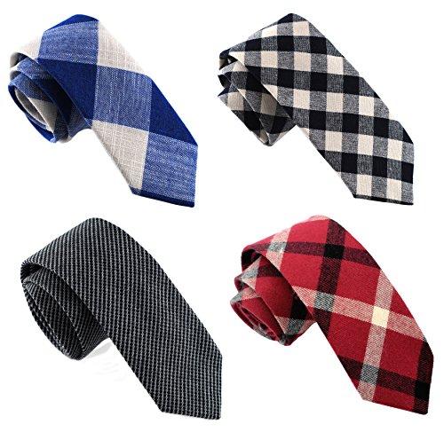 Skinny Neckties (Casual Skinny Necktie Slim Cotton Ties 4-pack TG-003)