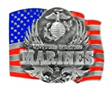 US Marines Enameled Pewter Belt Buckle - NCAA College Athletics Fan Shop Sports Team Merchandise