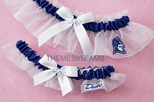 (Customizable - Duke University Blue Devils fabric handmade into bridal prom white organza wedding garter set with white handtied bows)