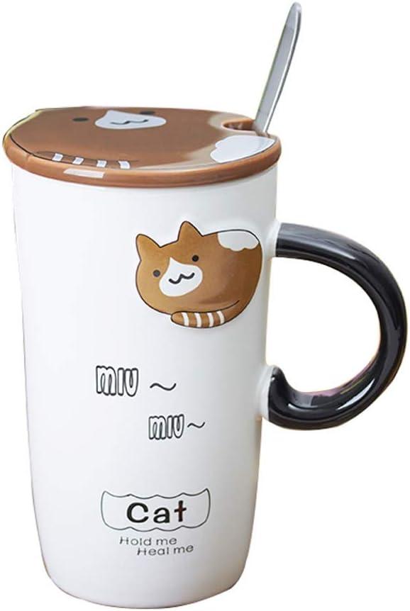 OUBOT Taza de cerámica grabada en Relieve Creativa Taza de la Taza de café de la Taza de consumición de los Pares con la Tapa y la Cuchara 500ml