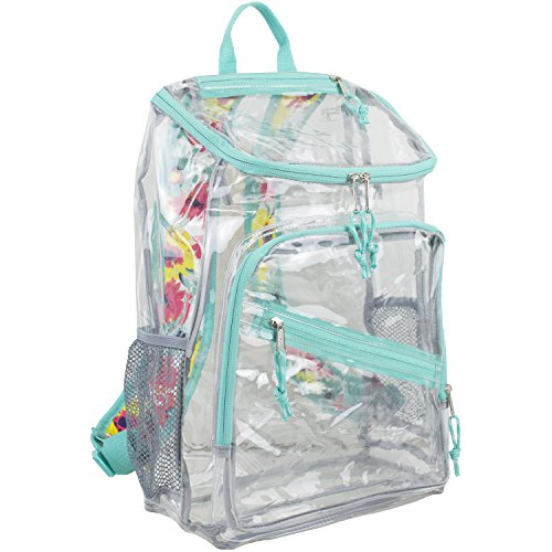 - Eastsport Clear Top Loader Backpack, Turquoise/Watercolor Floral
