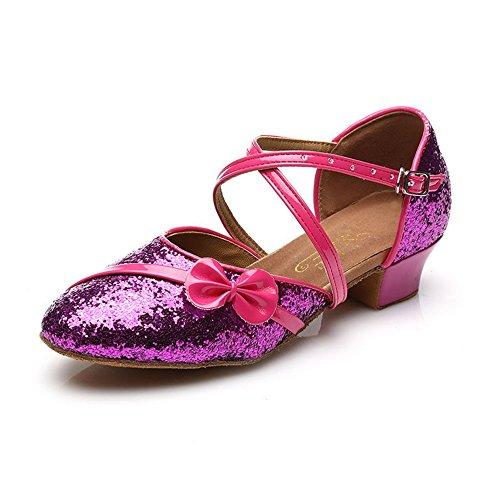 MQ - Zapatillas de danza para niña plateado plata rosa roja