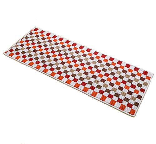 """Easychan Carpet Rubber Backing Non-Slip Kitchen Rugs Mat Doormat Area Rugs (17""""x47"""", Red Mosaic)"""