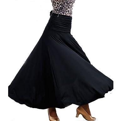 8f7fcc10911 Amazon.com  YILINFEIER Women Big Pendulum Ice Silk Elegant Modern Dance Skirt  with Long Swing Suits Ballroom Tango Waltz  Clothing