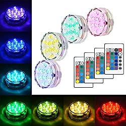 Litake Submersible LED Lights, RGB Multi Color Waterproof Remote Control Battery Powered Vase Lights for Fountain Pool Hot Tub Wedding Pond Decoration Centerpieces Vase Party - 4 Packs