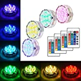 Litake Submersible LED Lights, RGB Multi Color Waterproof Battery Powered Lights with IR Remote Controller for Christmas Halloween Fountain Pool Hot Tub Wedding Pond Decoration Vase Party - 4 Packs