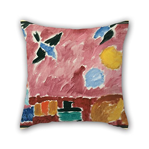 MaSoyy Oil Painting Alexei Jawlensky - With Red Swallow-Patterned Wallpaper, 1915 Throw Pillow Case 16 X 16 Inches / 40 By 40 Cm Best Choice For Living Room,floor,family,festival,teens,bench With 2
