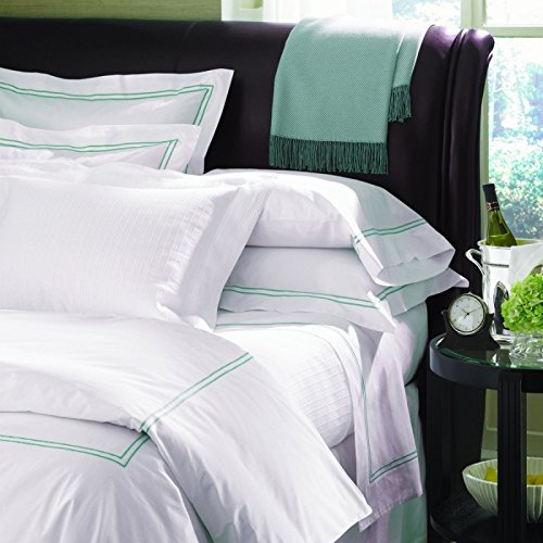 Grande Hotel Collection by Sferra - King Sham 21x36 - White/Grey - Grande Hotel Collection