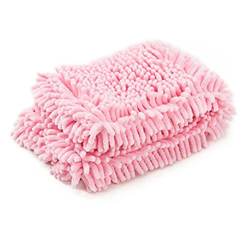 HaloVa Pet Towel, Thickened Soft Anti-Bacterial Microfiber Chenille Towel, Practical Ultra-Absorbent Bath Dry towel with Hand Pockets for Animals Dogs Cats and More, Pink, Large by HaloVa