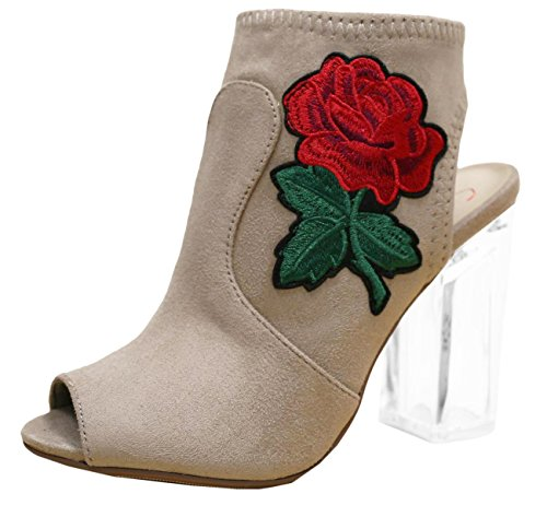 Beige Floral Detail Wedge (Delicious Merit Women's Embroidered Rose Floral Lucite Clear Heel Peep Toe Bootie,Light Taupe,8)