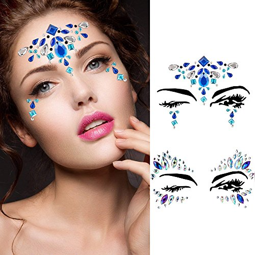 Face Jewels Glitter Temporary Tattoo With Tweezers Tool,6 Sets Body Rhinestone Jewelry Stickers Crystal Mermaid Eyes Tears Gems Stones For Festival Party Women by TTSAM (Image #1)