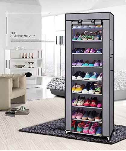 zeat 10-Layers 9 Lattices Shoe Rack Easy Assembled Non-Woven Fabric Shoe Tower Stand Sturdy Shelf Storage Organizer Cabinet Silver