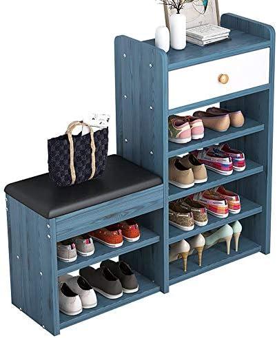 玄関 収納付き ベンチ 靴ベンチストレージキャビネット廊下クッション靴キャビネットベンチシェルフストレージユニットで埋めシート玄関廊下ラック 省スペース おしゃれ (Color : Blue, Size : 78X24X80CM)