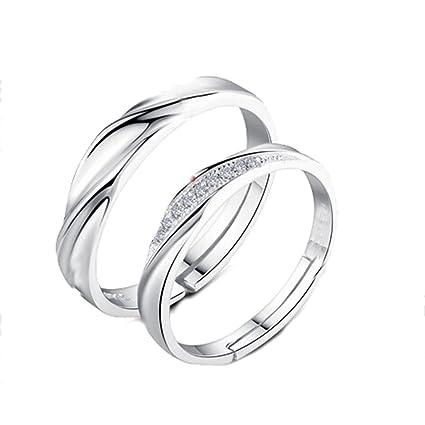 szhaiyu promesa anillo de compromiso diamantes de cristal Juego de bandas abierta anillos de boda su