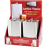 Maxam® 6 Piece 64 oz. Stainless Steel Flasks in Counter-top Display