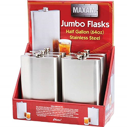 Maxam® 6 Piece 64 oz. Stainless Steel Flasks in Counter-top Display by BF001