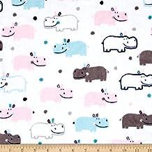 Shannon Kaufman Minky Cuddle Happy Hippo Blush/Saltwater Fabric By The Yard