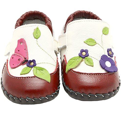 Da Bambine in vera pelle morbida suola scarpe bambino beige e rosso con chiusura in velcro, con calzascarpe