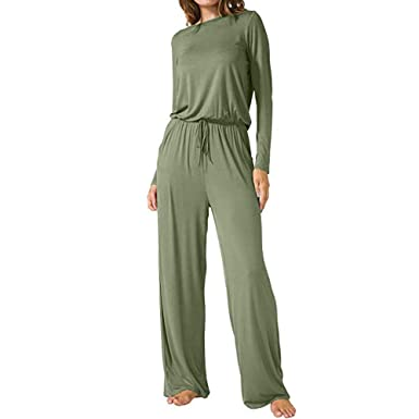 43ebfc5c591fa Amazon.com: iYYVV Womens O Neck Loose Wide Leg Casual Long Jumpsuits with  Pockets Yoga Romper: Clothing