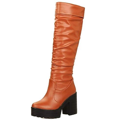 comprar lo mejor seleccione para genuino ahorre hasta 60% MisaKinsa Botas Mujer Moda Plataforma Tacón Alto Plisadas ...