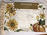 Envogue Sunflower Script Pumpkin Gourds Fringed & Beaded Set of 4 Cotton Autumn Placemats Ivory Yellow Green 14 x 19''