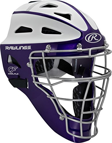 Rawlings Sporting Goods Youth Softball Protective Hockey Style Catcher's Helmet, Purple/White (Catchers Helmet Purple)