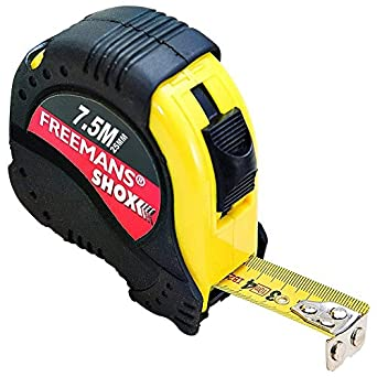 Freemans SH7525-Shox With Belt Clip Steel Plastic ABS 25mmX7.5m Measurement Tape