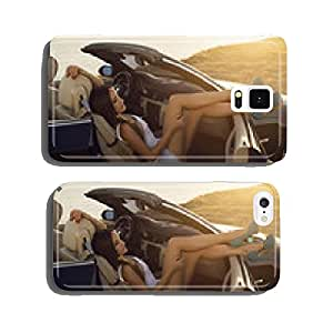 girl with dark hair posing in luxury cabriolet on sunset coast cell phone cover case iPhone6