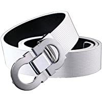 Onlybaby Reversible and Adjustable Men's Leather Belt with Double Shiny Buckle