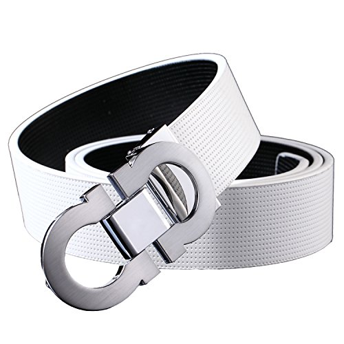 Onlybaby Reversible and Adjustable Men's Leather Belt with Double Shiny Buckle 125cm (White Reversible Belt)
